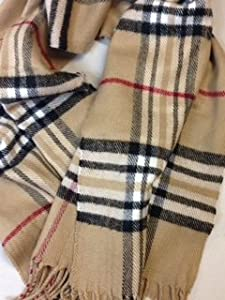 PLAID SCARF with Red/Black check 100% Cashmere Ellegance without the price