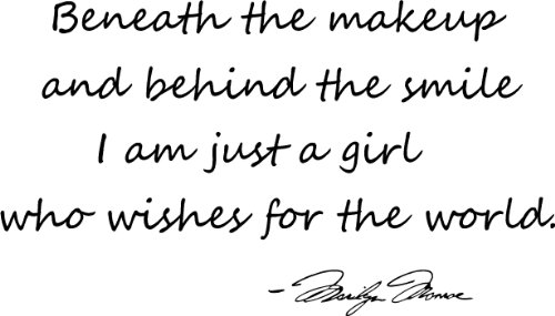 #3 Beneath The Makeup And Behind The Smile I'M Just A Girl Who Wishes For The World Marilyn Monroe Wall Quotes Art Sayings Vinyl Wall Decal front-860691
