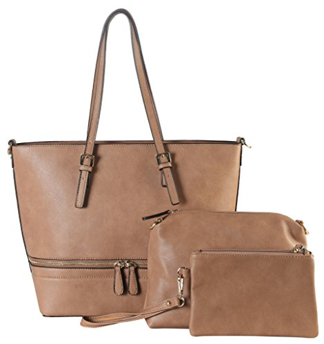 diophy-pu-leather-front-zipper-decor-large-tote-with-medium-and-small-bags-inside-3-pieces-set-women