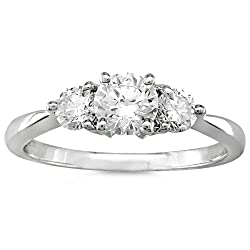 Three Stone Round Brilliant Diamond Ring 1/4ctw (IJ/I1) in White Gold