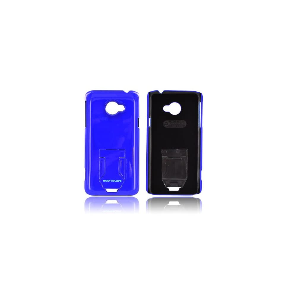 Body Glove Blue Slim Hard Plastic Case Snap On Cover W/ Built in Pull Out Kickstand, Crc92778 For HTC EVO 4g LTE