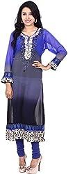 Touch Patiala Women's Georgette Regular Fit Kurta (Blue, Large)