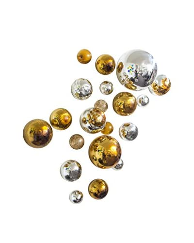Worldly Goods Set of 20 Glass Wall Spheres, Gold/Silver
