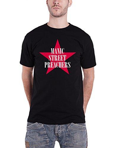 Manic Street Preachers レッド Star logo 公式 メンズ 新しい ブラック T Shirt