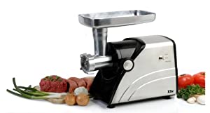 MaxiMatic HA-3433A Elite Platinum 550-Watt Stainless Finish Meat Grinder, Gray