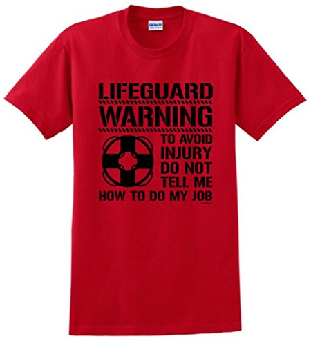 Avoid Injury Don't Tell Me How To Do Job Lifeguard T-Shirt Large Red (Baywatch Trunks)