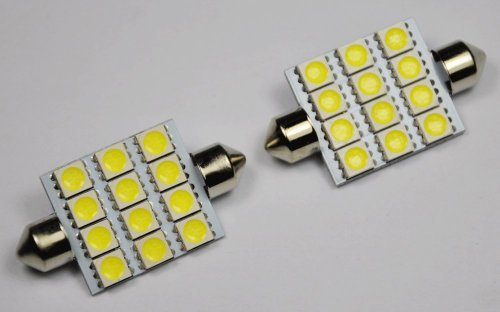 "Cutequeen Trading 4pcs Blue 42mm(1.72"") 5050 12-SMD 12SMD 12V Festoon Dome Light LED Bulbs 211-2 212-2 569 578 - Blue (pack of 4)"