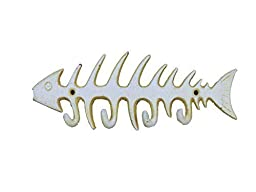 Hampton Nautical Cast Iron Fish Bone Rustic Wall Art Key Rack, 8, Antique White by Hampton Nautical