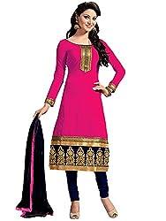 Fashion Dream Womens Cotton Dress material ( Chanderi Pink_Pink_Freesize )