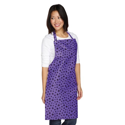 Purple and Black Paw Print Pet Grooming Smock