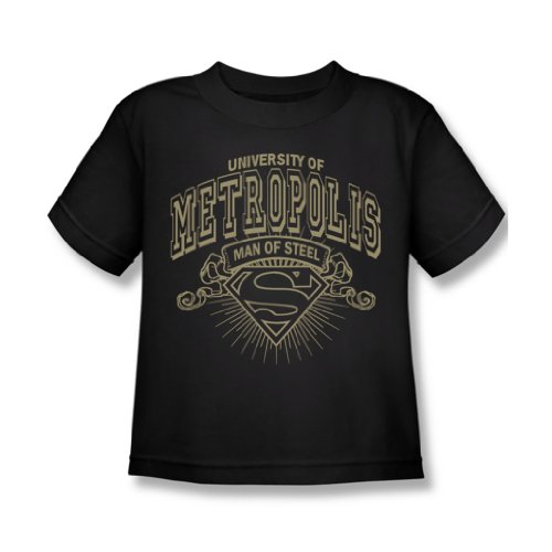 Superman-University Of Metropolis Juvee-Maglietta, colore: nero Nero  nero
