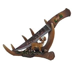six point blade decorative deer knife with antler display stand home kitchen. Black Bedroom Furniture Sets. Home Design Ideas