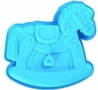 Silikonbackform Schaukelpferd Baby Geburt mit Rezeptheft blau von PA