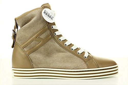 HOGAN REBEL SCARPE DONNA SHOES SNEAKERS POLACCO CON FIBBIA ORIGINALI R182 BEIGE