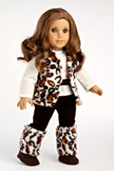 Wild Cat - Faux fur vest and boots matched with a chocolate velvet pants and ivory blouse - Clothing for 18 inch Dolls