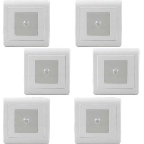 6X MENGS® 0.5W LED Wand & Treppenbeleuchtung Nachtlicht Lampe 8 SMD LEDs LED Treppenlicht mit Bewegungsmelder (Kaltweiß , 108 Lumen, 60º Abstrahlwinkel, 220V – 240V AC) Energiespar Licht