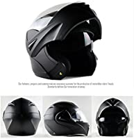ILM 10 Colors Motorcycle Flip up Modular Helmet DOT (L, Matte Black) by ILM