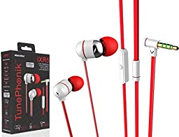Tunephonik iXR5 In-ear Headphones Stereo With Microphone Headset [White/Red]