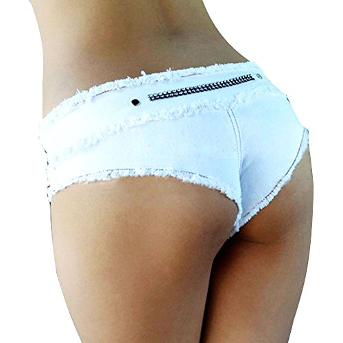 Lovinus Women's Sexy Booty Cut Off Low Waist Denim Short Pants-White/Black/Pink Denim Cut Off Shorts