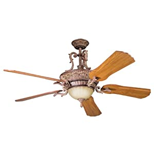 Kichler Lighting 300008APC Kimberley 60IN Ceiling Fan, Aged Pecan Finish with Solid Wood Blades and Integrated Light Kit