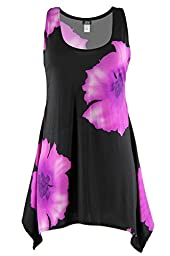 Jostar HIT Side Drop Tank Tunic with Print in Flower Design Purple Color in Small Size