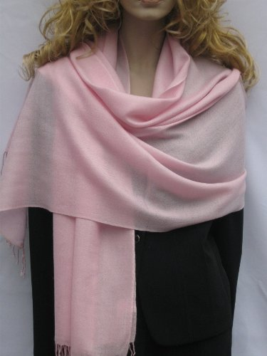 CASHMERE POWDER PINK PASHMINA SHAWL (REGULAR) from Cashmere Pashmina Group in vivid 55 colors (POWDER PINK)