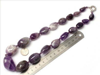 16--30mm graduated gemstone amethyst beads strand necklace 18