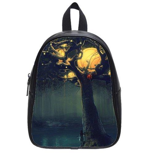 Generic Custom Round Moons Tree Woman In Night Halloween Theme Printed Black School Bag Backpack Fit Short Trip Pu Leather Medium front-232908