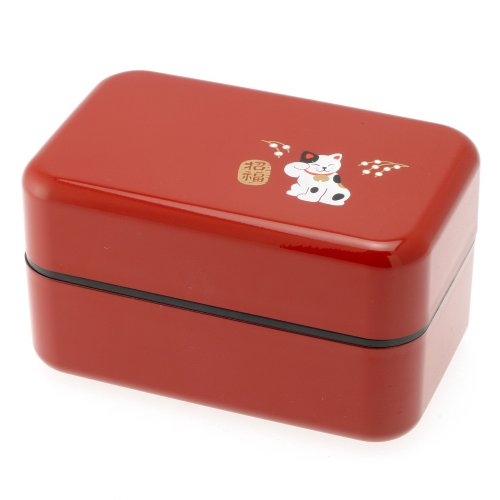 Kotobuki 2-Tiered Bento Box, Red Beckoning Cat
