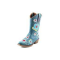 Blazin Roxx Toddler-Girls\' Sage Floral Embroiderd Side Zipper Cowgirl Boot Snip Turquoise 7.5 D(M) US