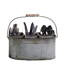 Shabby Cottage Chic Tin Utensil Silverware Caddy