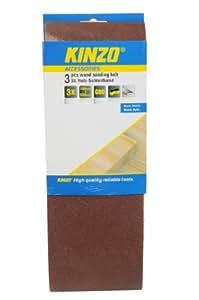 Kinzo 71755 Bande abrasive en bois 3 pièces grain 80