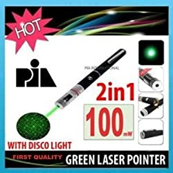 100mW GREEN LASER POINTER WITH DISCO LIGHT -PIA INTERNATIONAL