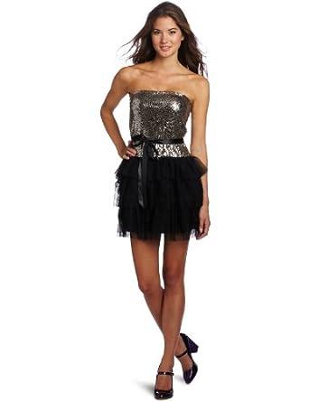 As U Wish Juniors Sequin Bodice Drop Waist Tiered Dress, Gold, Small