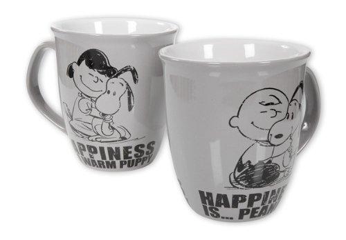 Peanuts - Ceramic Coffee / Cocoa Mug / Cup (Snoopy & Lucy / Snoopy & Charlie Brown) (B&W)
