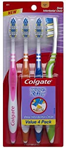 Colgate Wave ZigZag Full Head, Soft Toothbrush, 4-Count (Pack of 2)