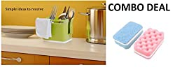 HOME CUBE® Combo Offer !!! Stand for Kitchen Sink for Dishwasher Liquid, Brush, Sponge, Soap Bar, Towel Holder + 2 Pc Cleaning Scrubber With Sponge ( Random Color )