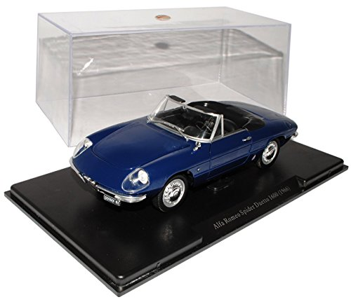 Alfa-Romeo-Spider-Duetto-1600-1966-Blau-Mit-Sockel-und-Vitrine-124-Modellcarsonline-Modell-Auto