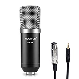 Neewer NW-700 Professional Studio Broadcasting & Recording Condenser Microphone Set Including: (1)NW-700 Condenser Microphone + (1)Ball-type Anti-wind Foam Cap + (1)Microphone Audio Cable (Black)
