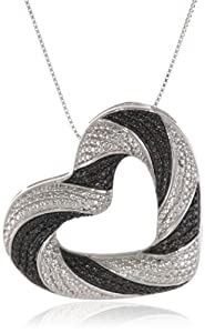 Sterling Silver Black Diamond Large Heart Shaped Pendant Necklace, 18