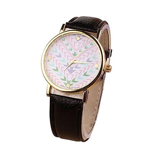 Zps(Tm) Fashion Quartz Aztec Tribal Pattern Leather Wrist Watch(Black)