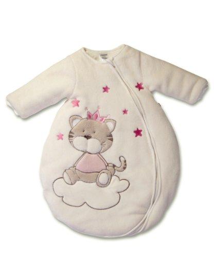 Jacky bambina, sacco nanna invernale maniche lunghe, Gatto, avorio-rosa, 86/92 (18/24 mesi), 350007