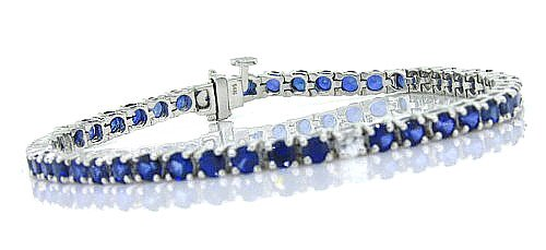 Click to buy Blue Sapphire Bracelet: 5.67 CT Genuine Sapphire Bracelet in 14K White Gold from Amazon!