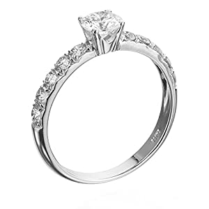 Certified, Round Cut, Solitaire Diamond Ring in 14K Gold / White (1 ct, G Color, I1 Clarity)