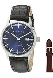 Stuhrling Original Men's 555A.04 Classic Ascot II Swiss Quartz Date Blue Dial Watch with Interchangeable Brown Leather Strap