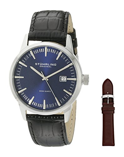 Stuhrling Original Men's 555A.04 Analog Classic Ascot II Swiss Quartz Movement Blue Dial Black Watch with Interchangeable Brown Leather Strap (Original Blue And Black Dress compare prices)
