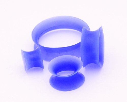 Thin Walled Blue Silicone Tunnels - 0G - 8Mm - Sold As A Pair front-987175