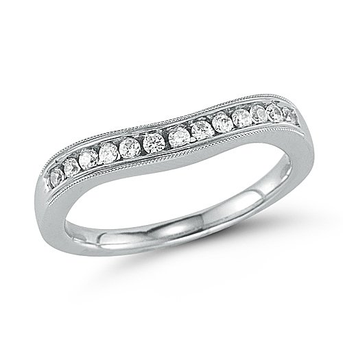 14k White Gold Round Diamond Contour Anniversary Band (1/4 cttw, H-I Color, I1-I2 Clarity), Size 6