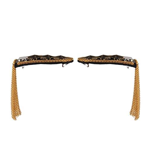 1 Pair Star Tassel Link Chain Epaulet Shoulder Boards Badge (Golden) (Shoulder Boards compare prices)