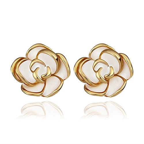 Womens Fashion Jewelry Graceful Hawaiian Flower Plug-in stud earrings Stud Earrings Gold-LanceStore (Lilac Angel Toddler Costume)